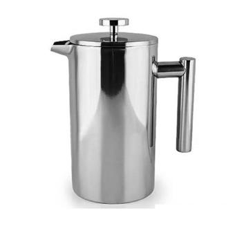 Perancis Tekan cokelat kehitaman teh Pot Brewer dengan filter Stainless Steel Double Wall