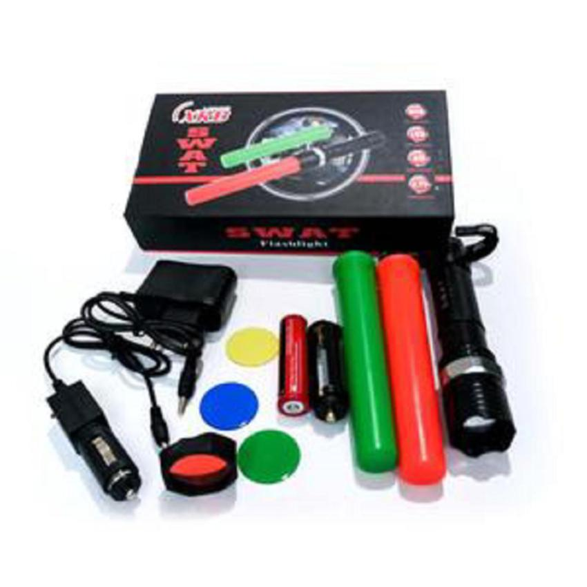 Police Senter Swat 800000w - Double 2 Cone Lalin - Flashlight Sinar Cahaya Led Putih - Zoom Putar - Batere Cas 18650 - Flash Light