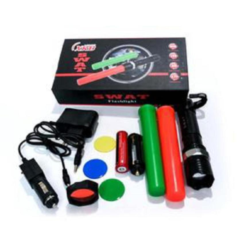 Police Senter Swat 800000w - Double 2 Cone Lalin - Flashlight SinarCahaya Led Putih - Zoom Putar - Batere Cas 18650 - Flash Light