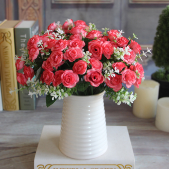 Pretty Charming 15 Buds 1 Bouquet Rose Artificial Silk Flower Decoration Home
