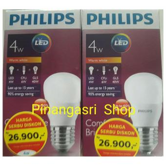 Promo Terbatas Lampu LED Philips 4 Watt 4W / Philip Kuning 4 W Bulb 4Watt WARM