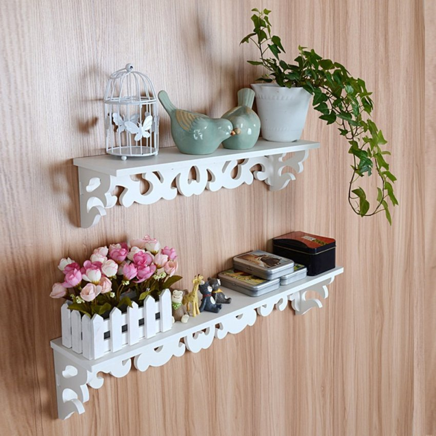 Putih tampilan rak gantung rak dinding kayu penyimpanan pemegang barang dekorasi rumah - Internasional