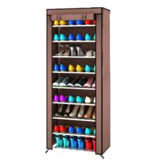 Rak Sepatu 9 Sekat (10 Susun) / Shoe Rack with Dusk Cover-Coklat