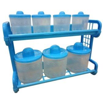 Rak tempat Bumbu kitchen set monaco 7 tabung transparant - biru