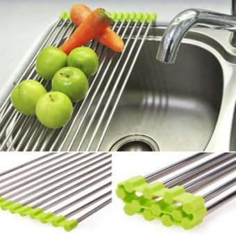 RHS 37*23cm Folding Kitchen Over Sink Dryer Fruit Dish VegetableDrainer Shelf Holder Rack(Green) - intl