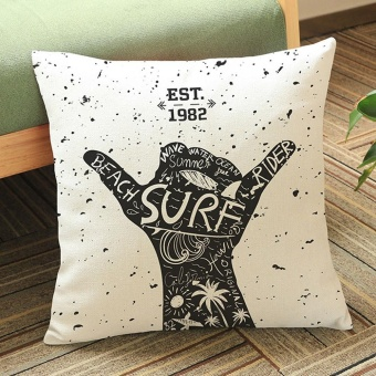Rock Style Letters Linen Cushion Cover Throw Waist Pillow Case Sofa Home Decor E - intl