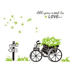 Romantis hijau sepeda yang dapat dilepas Poster dinding kamar Safa koridor Backgound hiasan stiker dinding Wallpaper hijau
