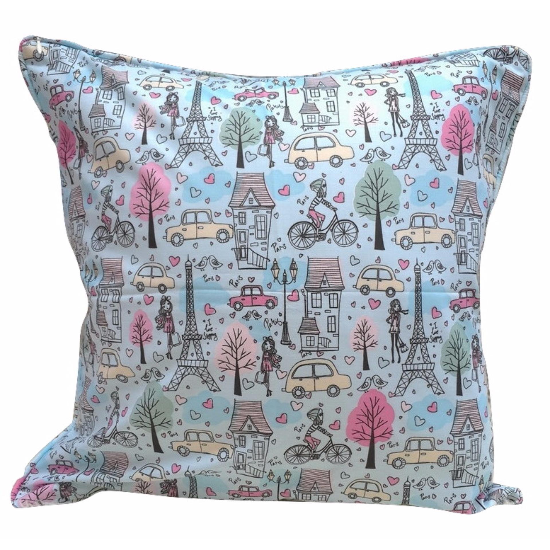 Shafiyyah.Sarban Sarung Bantal Sofa / Kursi 40x40 motif Eiffel Girl