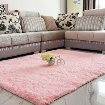 Shaggy Anti-selip Karpet Karpet Lantai Tikar/Sarung 80*120 Cm Berwarna Merah