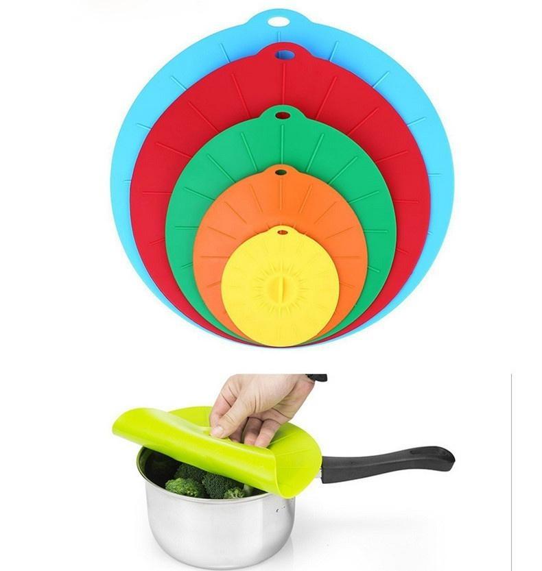 ... Silicone Tutup Mangkuk dan Makanan Cover Combo, Set 5 Reusable Suction Seal Meliputi Mangkuk,