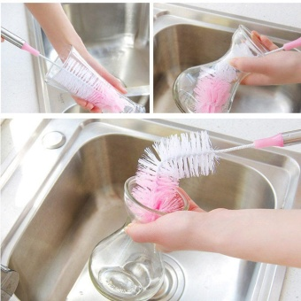 Simple Durable Cup Brush Stainless Steel Bottle Cleaning Cup Brush Nylon - intl