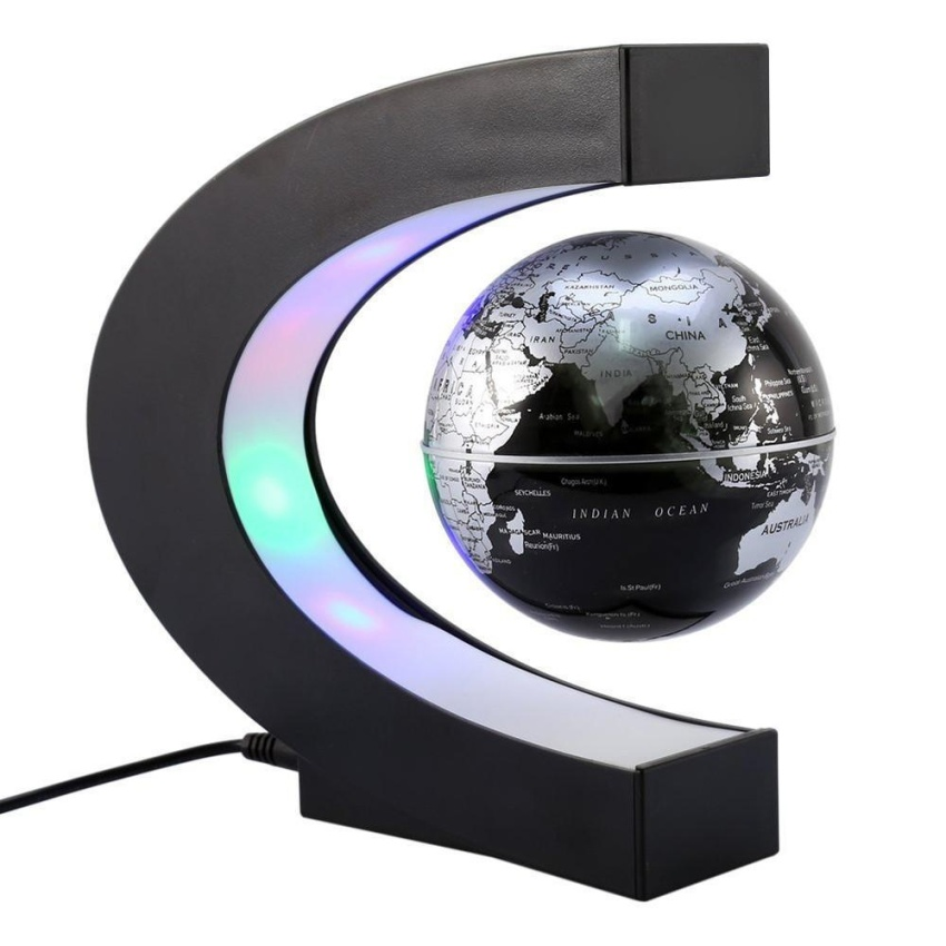 Info harga sqamin globe 360 degree perfect show funny c shape funny c shape magnetic levitation floating rotating globe world map with multicolor led great christmas gift for learning education teaching home office gumiabroncs Choice Image