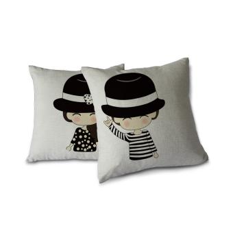 Square 45,72 cm katun Linen Sofa ruang tamu dekorasi mobilmelemparkan bantal penutup kartun pasangan