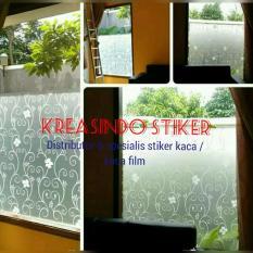 Stiker Kaca Sandblast Motif Bunga Batik