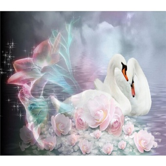 Swan Diamond Bordir 5D Diamond DIY Lukisan Cross Stitch Kerajinan-Multicolor-Intl