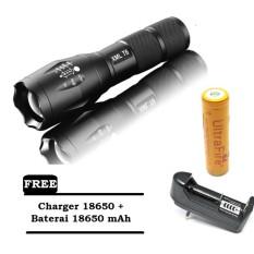 TaffWare E17 Senter LED Cree XM-L T6 2000 Lumens - Black + FREE Charger 18650 + FREE Baterai Ultrafire 18650