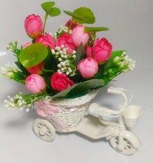 Tanaman Rangkaian Bucket Buket Bunga Mawar Pohon Plastik Artificial Artifisial Sintetis Pot Vas Rotan Hiasan - Sepeda Pink