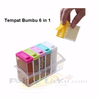 Tempat Bumbu Dapur Kotak 6 in 1 / Seasoning Set Multicolour 6in1
