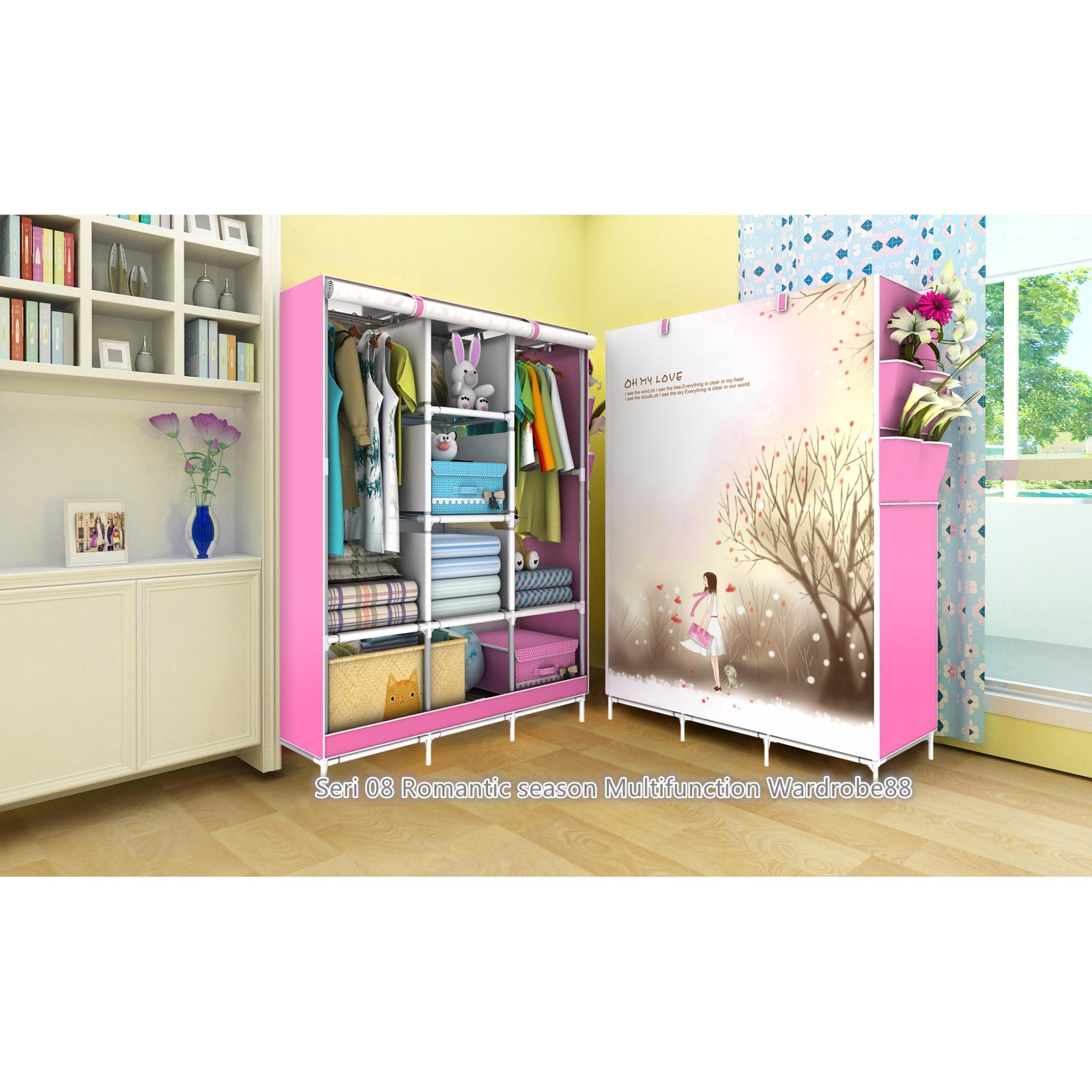 Terlaris 08 ROMANTIC SEASON Lemari pakaian Multifunction Wardrobe with cover