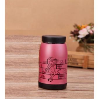 Termos Air LUKISAN 250ML Stainless Steel Botol Minum Lucu - PINK