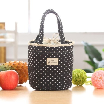 Thermal Insulated Lunch Box Cooler Bag Tote Bento Pouch LunchContainer - Black - intl