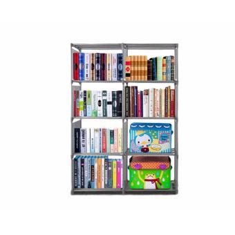 TOKO49 - Rak Buku Portable Rak Buku Serbaguna Lemari Buku Dua Sisi Abu-Abu