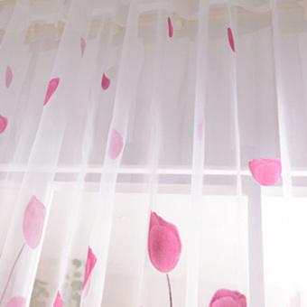 Detail Gambar Tulip Cetak Kain Tule Kain Pual Tirai Gorden Tipis Jendela Pintu Panel 200 cm X 100 cm dan Variasi Modelnya