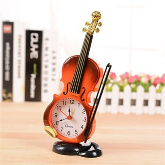 Uniqe Instrument Table Clock Violin Gift Home Decor Quartz Alarm Clock - intl