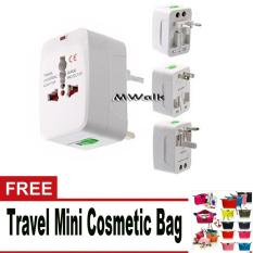 Universal International Travel Adaptor/Colokan Listrik/Charger All in One Free Travel Mini Cosmetic Bag