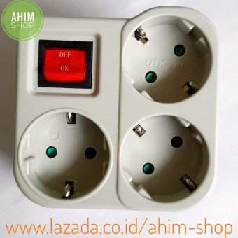 Uticon(R) Stop Kontak / Steker Arde 3 Lubang Multisocket + Saklar Switch (3in1) + Pengaman Socket