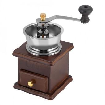 Vintage Wooden Manual Mesin Penghalus Biji Kopi dengan Putaran Tangan Inti Keramik Pepper Herb Mill-