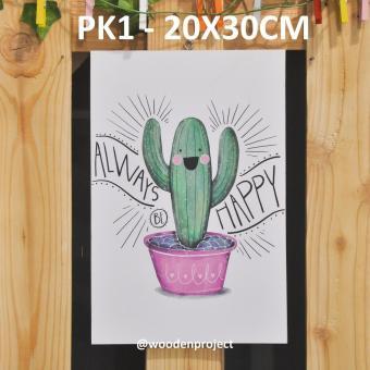 Wall Decor Pajangan Hiasan Dinding Poster Kaktus - PK1