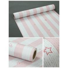 Wallapaper Sticker Dinding Pink Garis Putih Berbintang