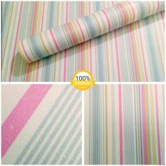 Wallpaper Sticker Dinding Garis Pink Putih Biru Kuning