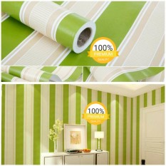 Wallpaper Sticker Dinding Hijau Garis Krem