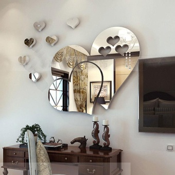 Warm your home 3D Mirror Love Hearts Wall Sticker Decal Home Room Art Mural Removable - intl