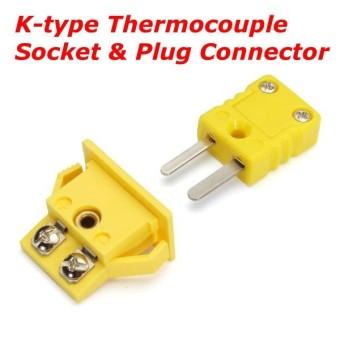 Kuning Plastik Shell K TYPE PANEL MOUNT Termokopel Socket & Plug Konektor Set-Intl