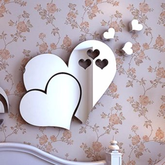 Yika 3D Mirror Love Hearts Wall Sticker Decal DIY Home Room ArtMural Decor Removable - intl