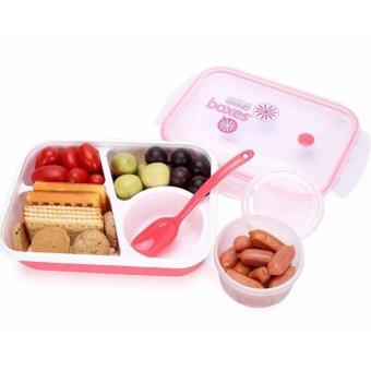Yooyee Lunch Box 4 Sekat Bento #415 Kotak Bekal Makan + Tempat Sup - MERAH