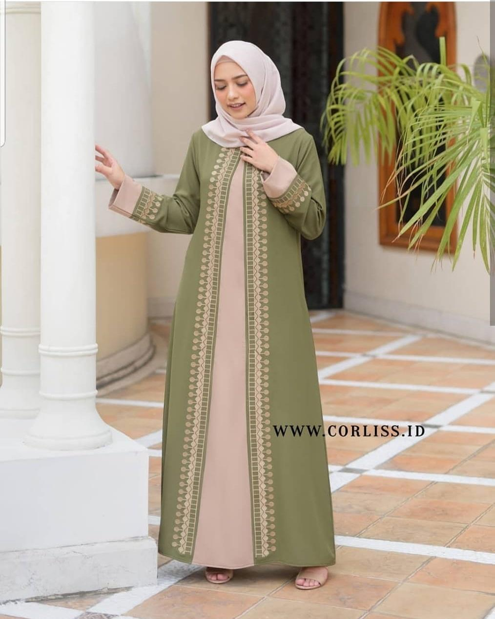 DUBAI ABAYA BAHAN WOLFIS FULL BORDIR GAMIS SIMPLE MODEL TRENDY TERBARU /  Gamis Wanita / Dress Muslimah / Maxy Simple / Dress Panjang / Maxy Model