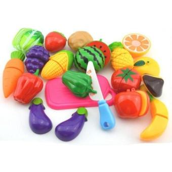 18 pcs Plastik Memotong Buah-buahan dan Sayuran Set Mainkan Makanan Set untuk Berpura-pura Bermain-Intl ...
