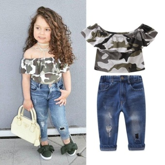 2Pcs Puit !! Cute Kids Girl Camo Off shoulder Sleeveless Tops +HoleJeans Pants Outfits Set Clothes 1-7Y - intl