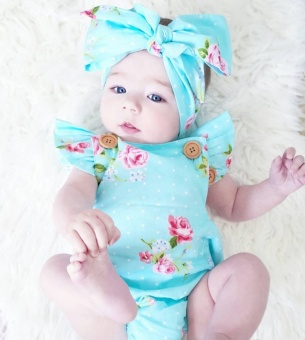 2pcs /Set Floral Romper Headband Baby Girls Cute Backless Romper One-piece Sunsuit Clothes Set Blue - intl