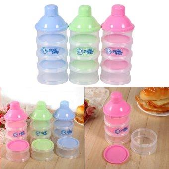 4 Layers Portable Infant Baby Milk Powder Formula Dispenser FeedingCase Box Container (Blue) -