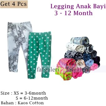 4 Pcs Legging Anak Motif 3-12 Month Bahan Kaos Cotton