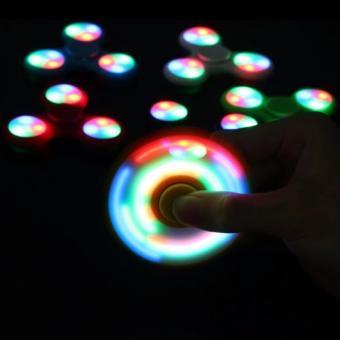 AIUEO - Fidget Spinner LED New Exotic Hand Toys Mainan Tri-Spinner EDC Focus Games Fidget Spinner Metalic Led - Biru