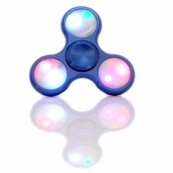 AIUEO - Fidget Spinner LED New Exotic Hand Toys Mainan Tri-Spinner EDC Focus Games Fidget Spinner Metalic Led - Biru
