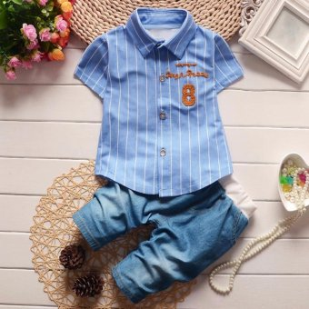 Amart Summer Boys Set Short Sleeve Shirt + Pants Set Infant Set Cotton Material Stripe Shirt Jeans Short Trousers Suit - intl