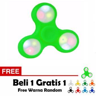 ANGEL Fidget Spinner LED Hand Toys Mainan Tri-Spinner EDC Ceramic Ball Focus Games Lampu