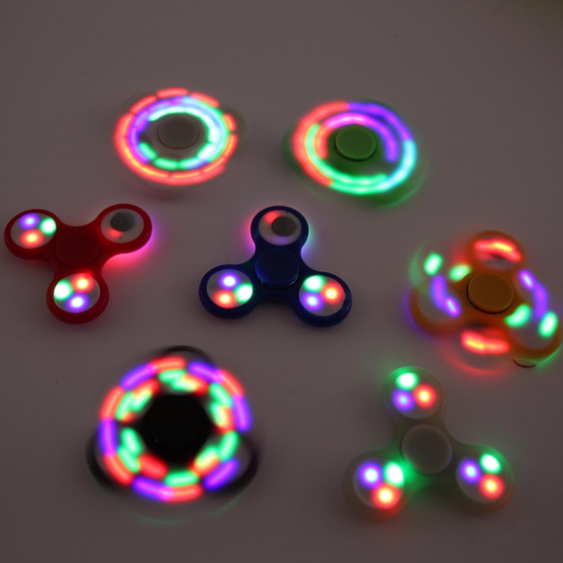 ANGEL LED Fidget Spinner Hand Toys Mainan Tri-Spinner EDC Ceramic Ball .